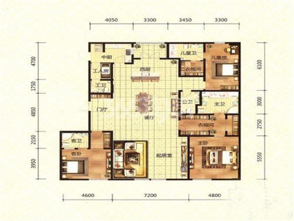 洋房D户型, 3室2厅4卫, 约305.00平米