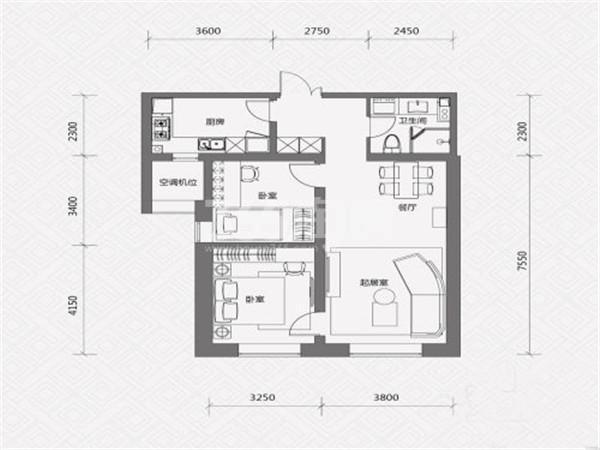 L户型, 2室2厅1卫, 约99.00平米