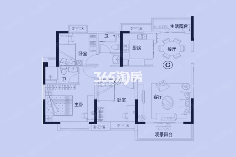 碧桂园S1秦淮世家120㎡三室两厅户型图
