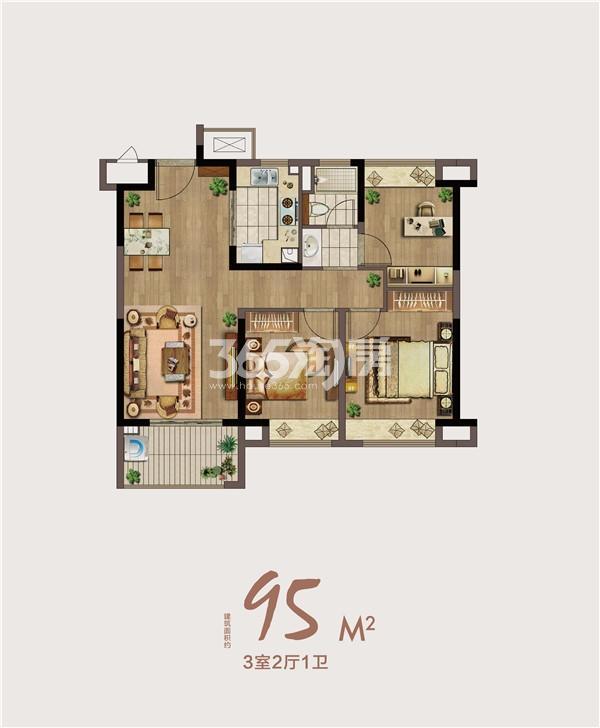 绿地海悦95㎡三室两厅一卫户型