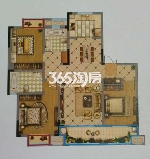 一期1#3#标准层E户型 3室2厅2卫1厨