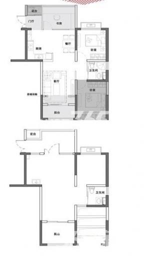 浦口区江浦街道明发新城中心3室2厅户型图