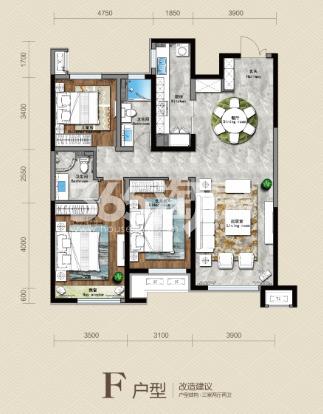 141平 三房两厅两卫