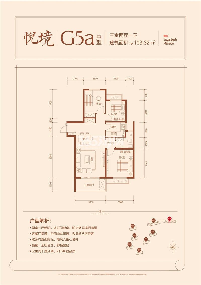 G5a户型三室两厅一卫103.32㎡