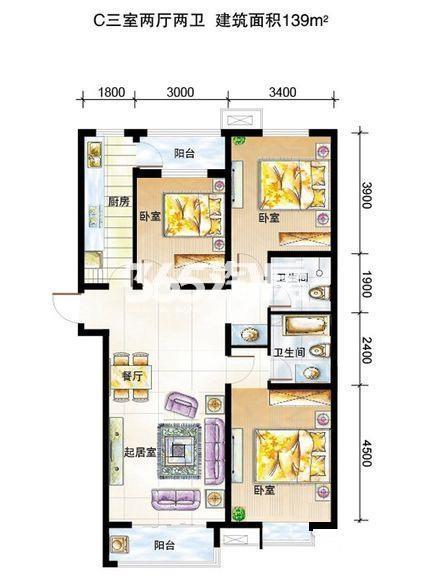 弘石湾3#标准层C户型3室2厅1厨2卫139.00㎡