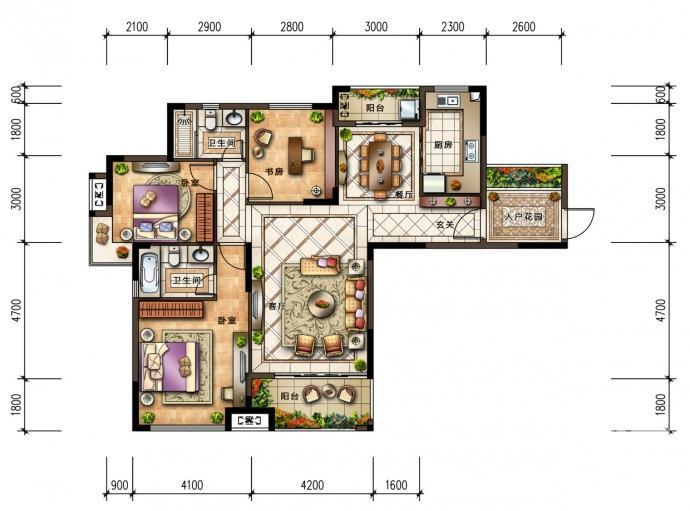 华强城赛纳丽城3室2厅2卫134平方产权房毛坯