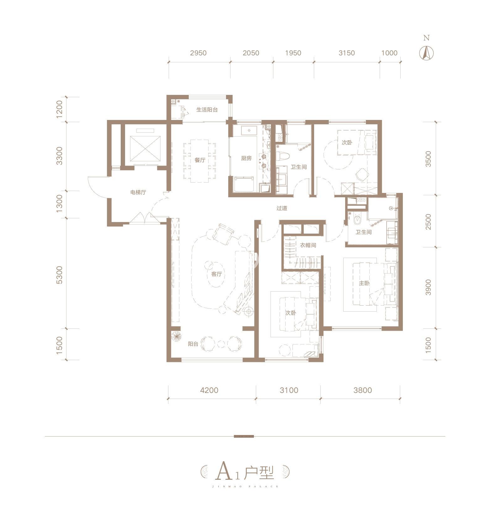 长安金茂府A1三室两厅146㎡户型图