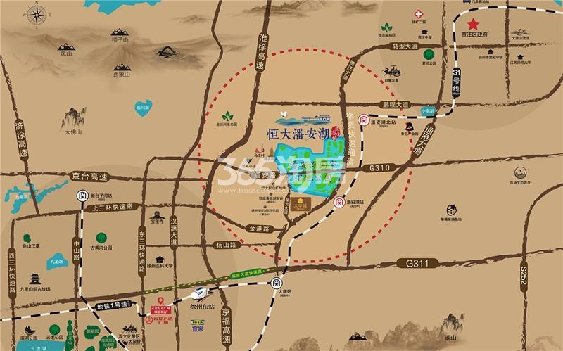 恒大潘安湖生态小镇交通图