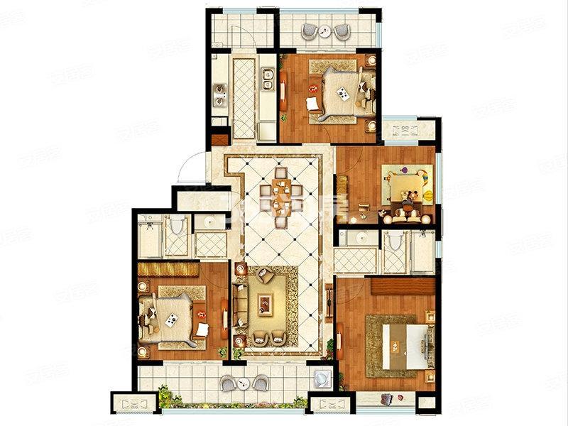 融创枫丹御园洋房123平户型图
