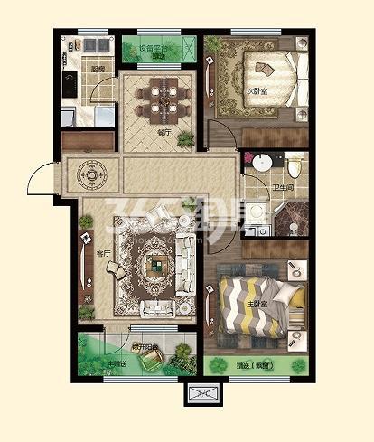三室两厅一卫89.84㎡