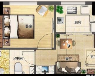 国祯广场1室1厅1卫40平米精装整租