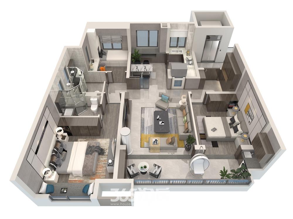伟星万科潮起中江119平三室两厅两卫户型图未来之屿