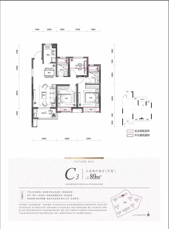 融创金成未来海项目6号楼C3户型89方