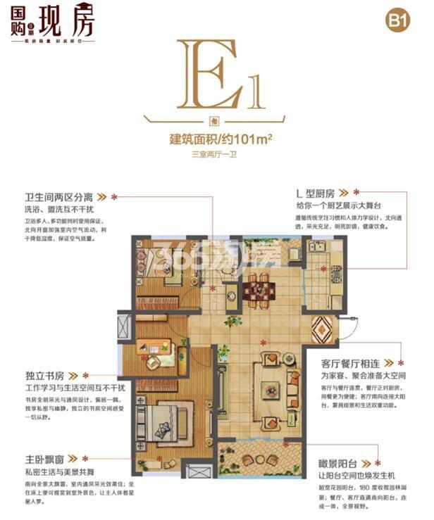 蚌埠国购广场现房 E1三室两厅一卫101㎡