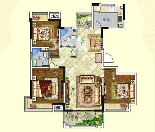 户型:3室2厅 面积:124�O