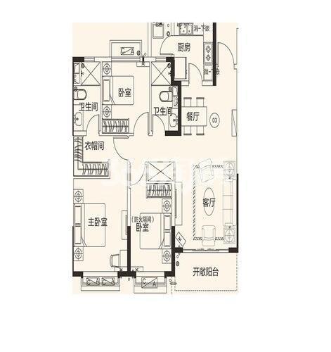 恒大翡翠龙庭10#楼03户3室2厅2卫1厨130.04㎡