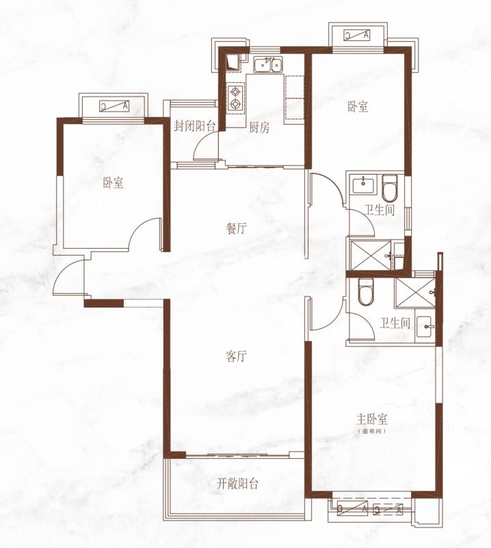 恒大悦龙台三室两厅两卫141.43㎡