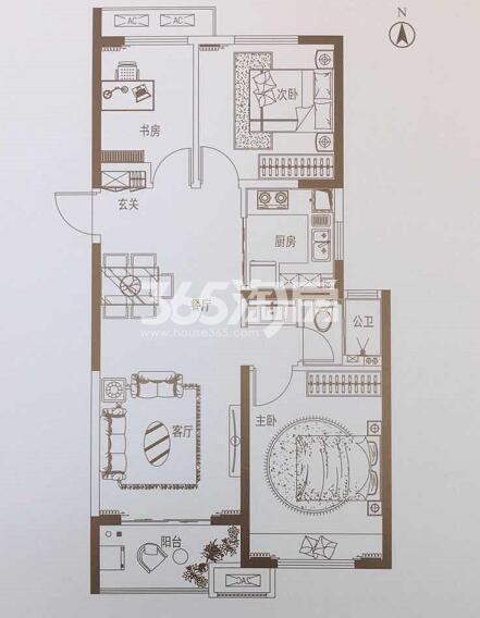 中海长安府三室两厅95㎡F户型图