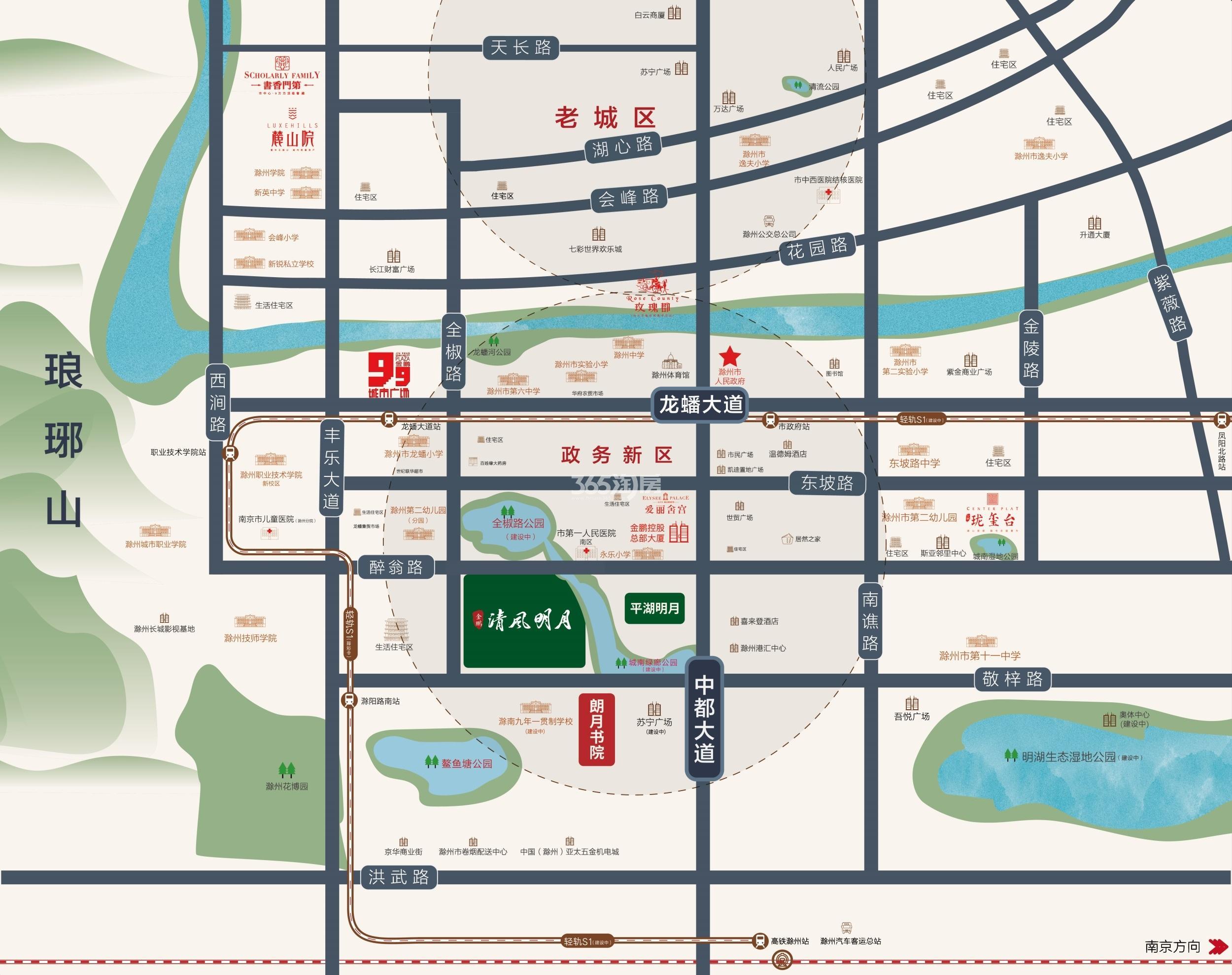 朗月书院交通图