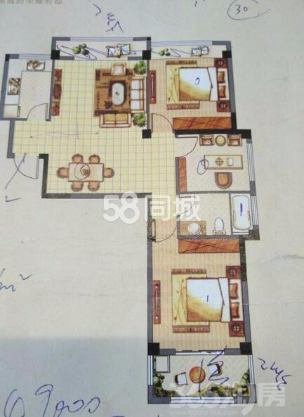 正东凯旋观邸3室2厅1卫106�O整租中装