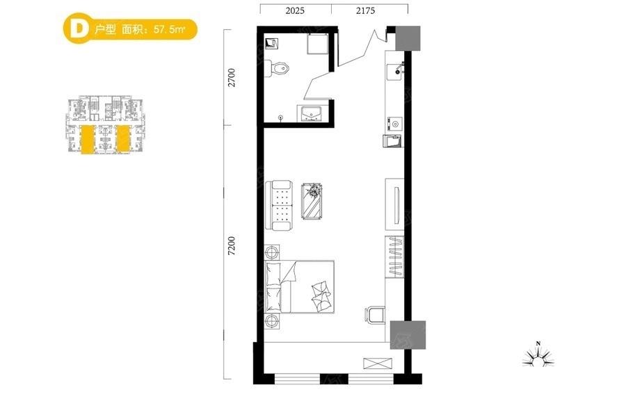 D户型57.5平米 1是1厅1卫