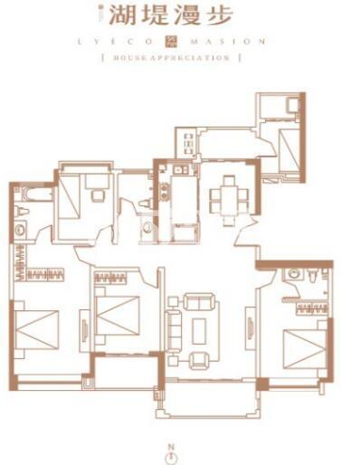 万景荔知湾二期户型5室2厅3卫1厨172平