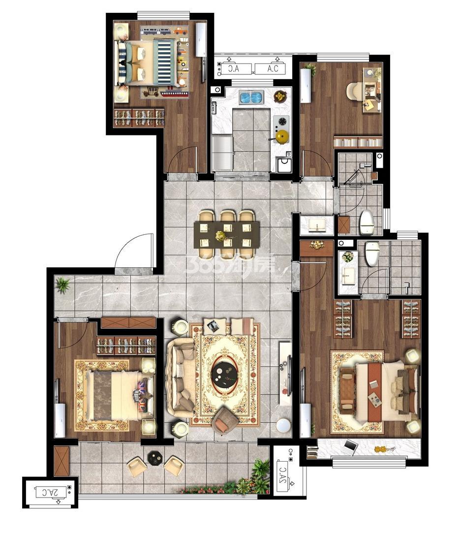 125㎡四室两厅两卫