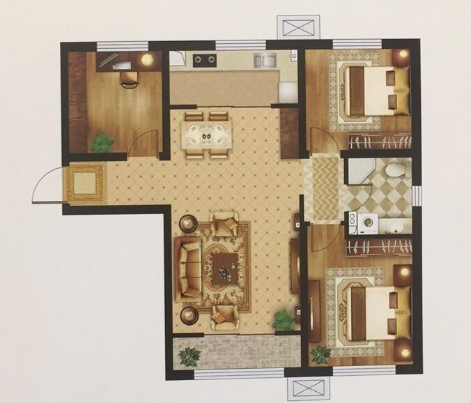 C户型 125㎡ 三室两厅一卫