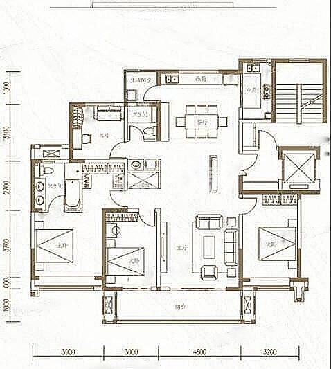 金地中心风华四室两厅166户型图