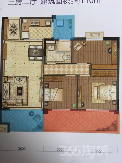 碧桂园・天玺3室2厅1卫110平米精装
