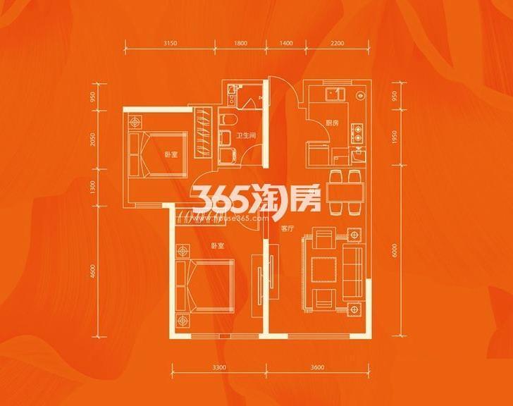 公寓3号楼标准层B户型 2室2厅1厨1卫 87.2平米