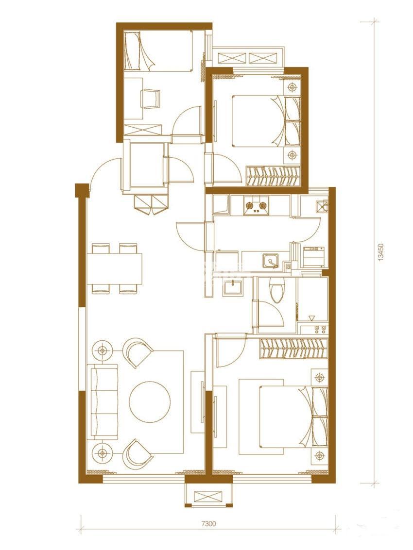 万科金色悦城37号楼三室两厅一卫110㎡