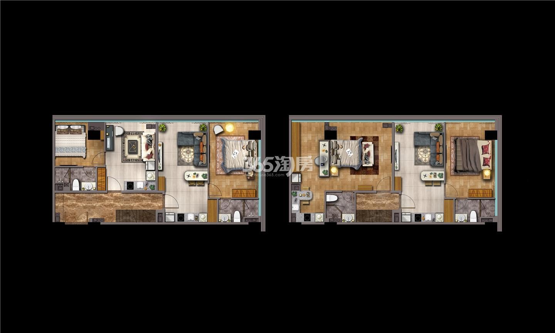 金轮峰华136㎡百变SOHO 4.8米挑高四钥匙户型图