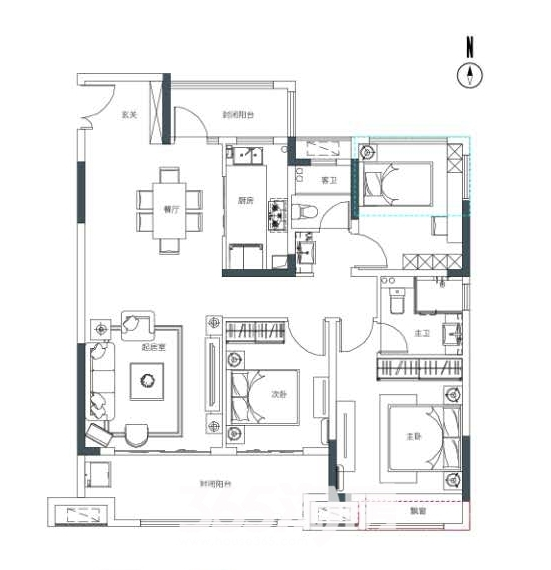 保利香颂塞纳134平户型图