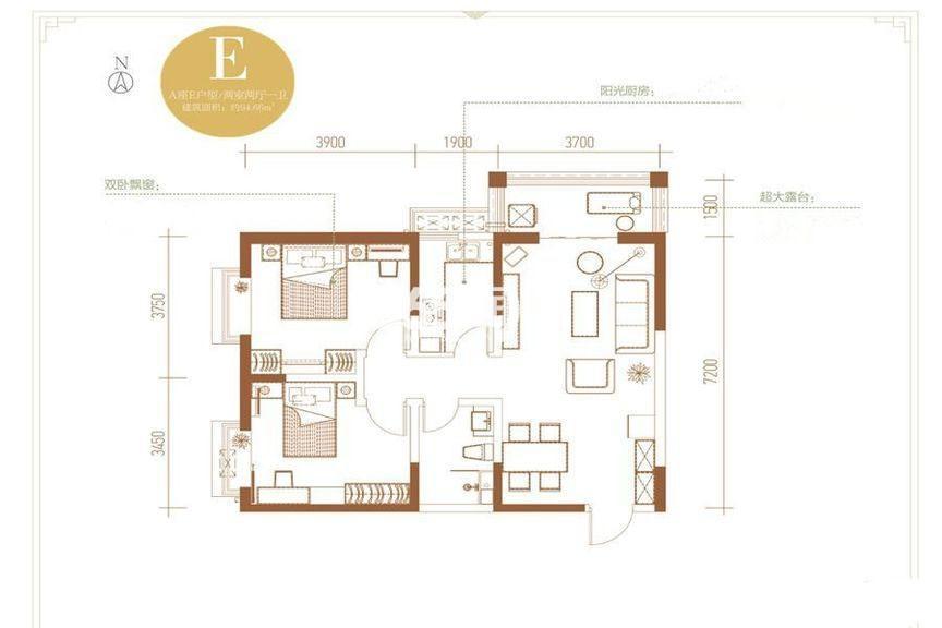 丽苑山水A座E户型两室两厅一卫94.60㎡
