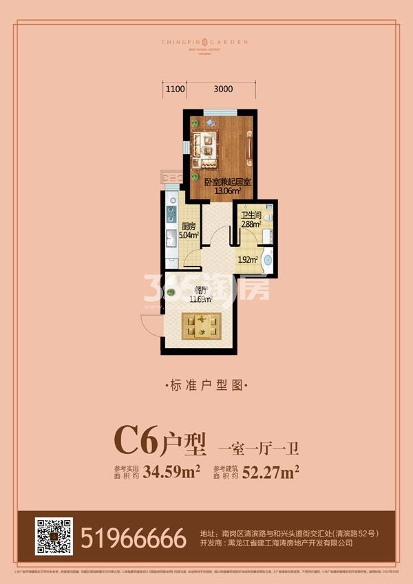 C6户型 一室一厅一卫