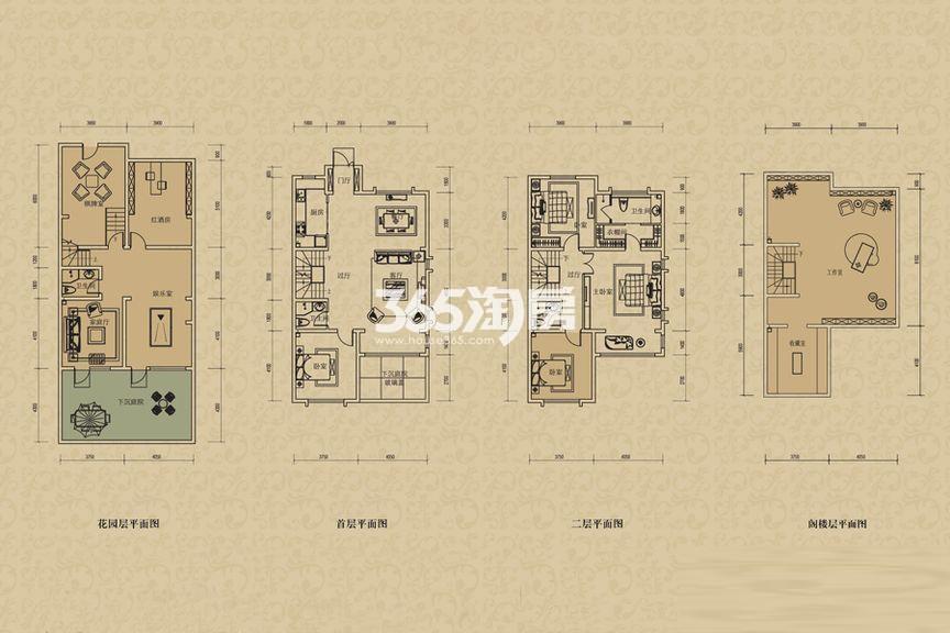 二期联排别墅B2'户型 4室2厅1厨2卫 185.00㎡