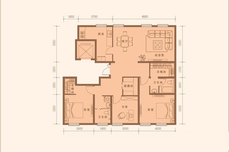 147平米 3室2厅2卫