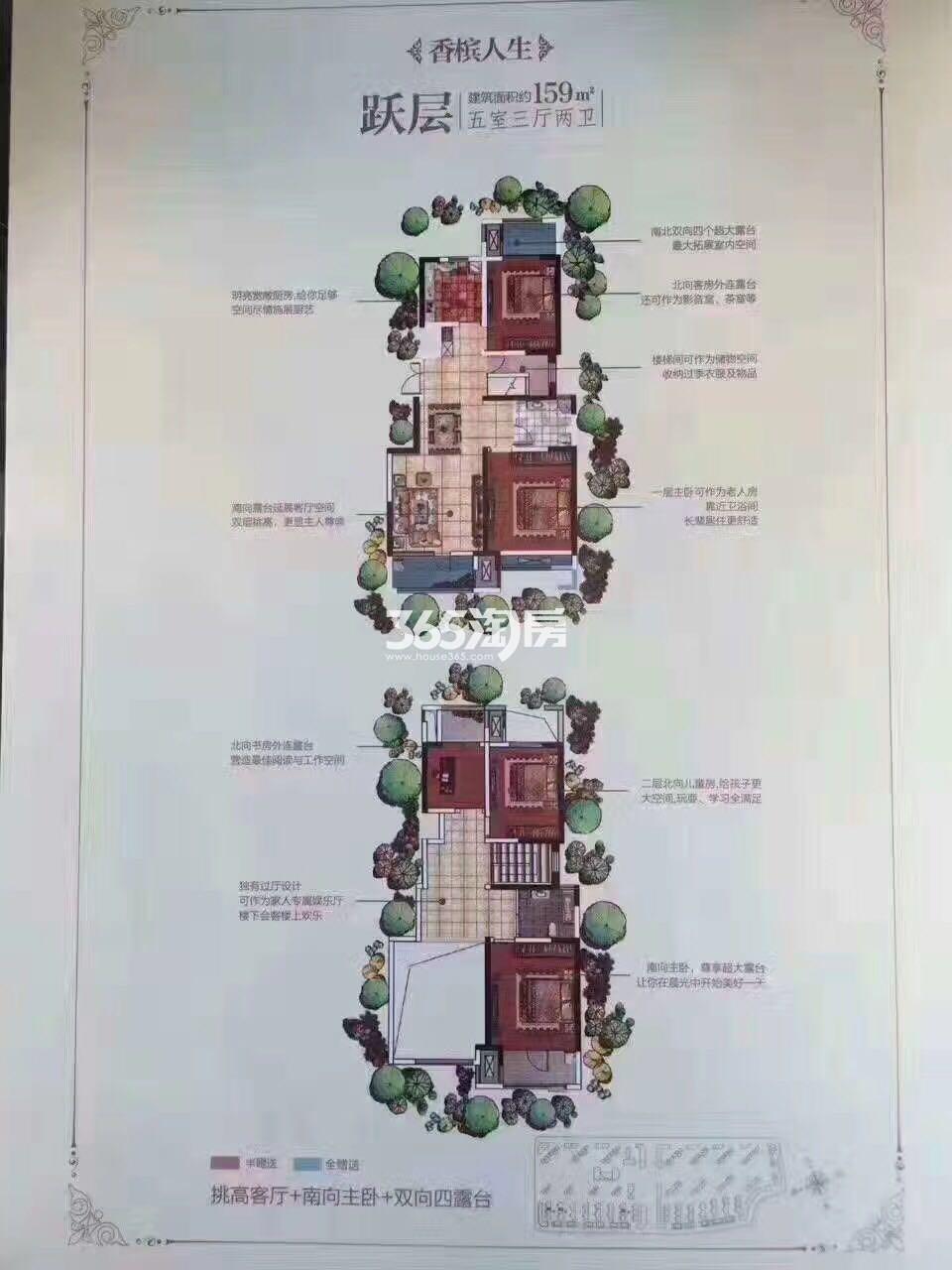 富力白鹭湾户型图跃层5室3厅2卫159㎡