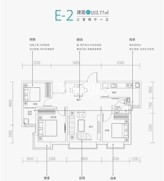 铂悦·兴隆府项目户型图(建面约103.77㎡)