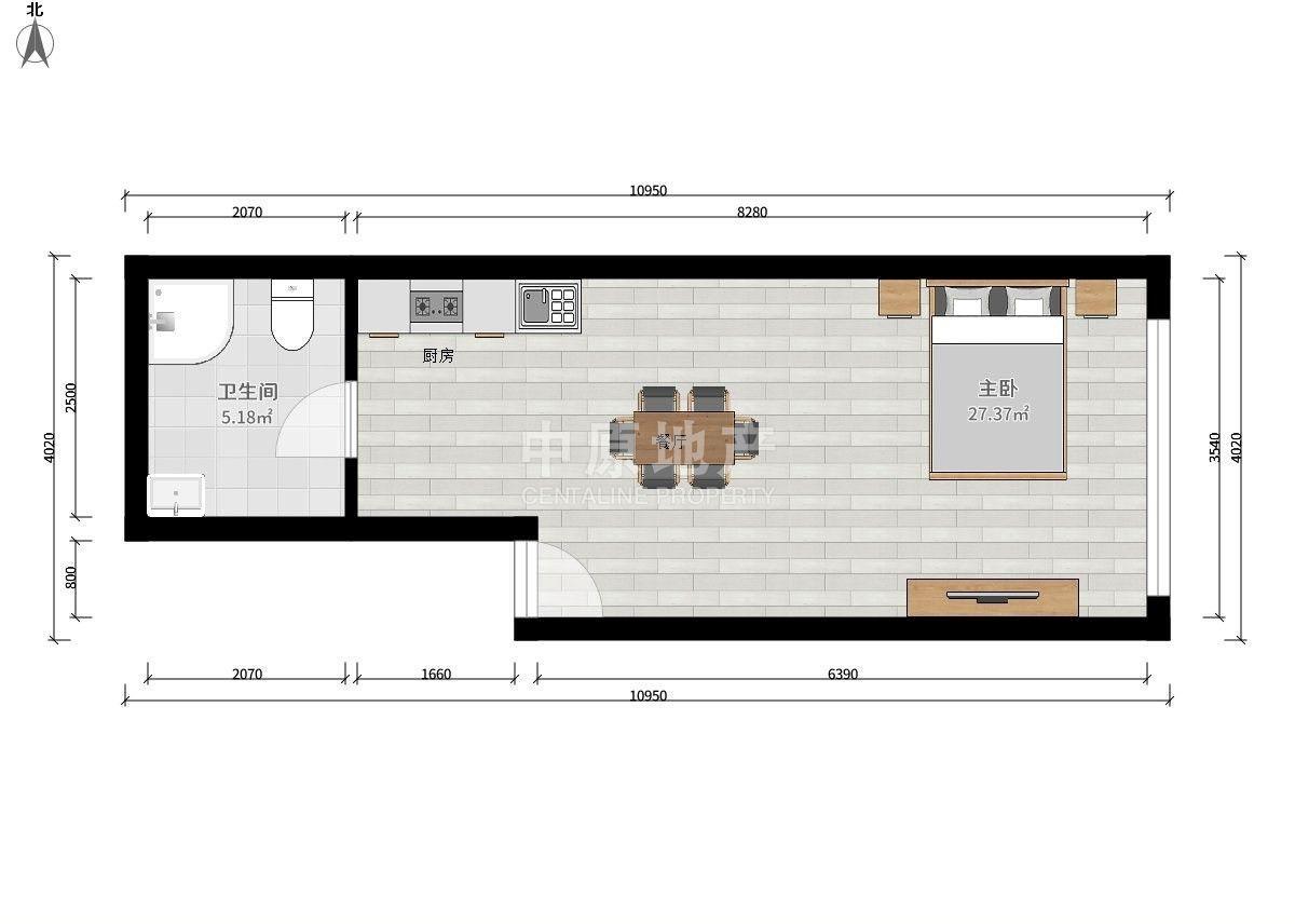 鼓楼区龙江辰龙广场1室1厅户型图