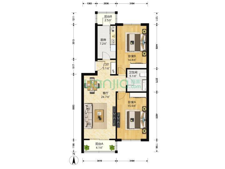 金田公寓2室1厅1卫97.95平米2001年产权房精装