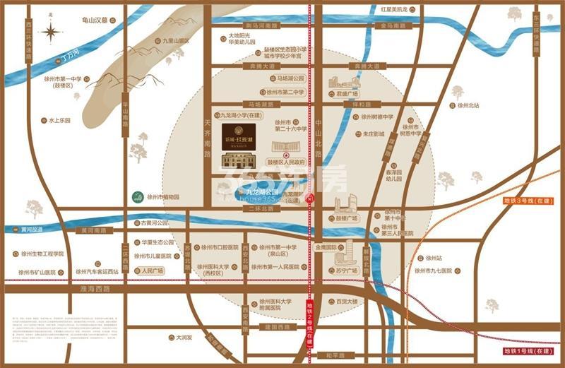 新城玖珑湖交通图