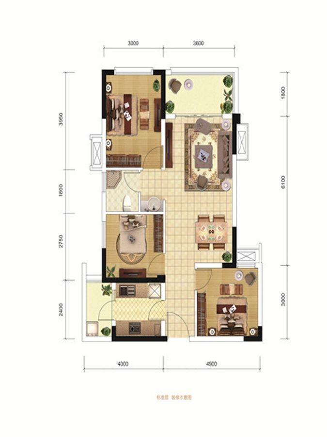 A1、B1户型 3室2厅1卫 79㎡