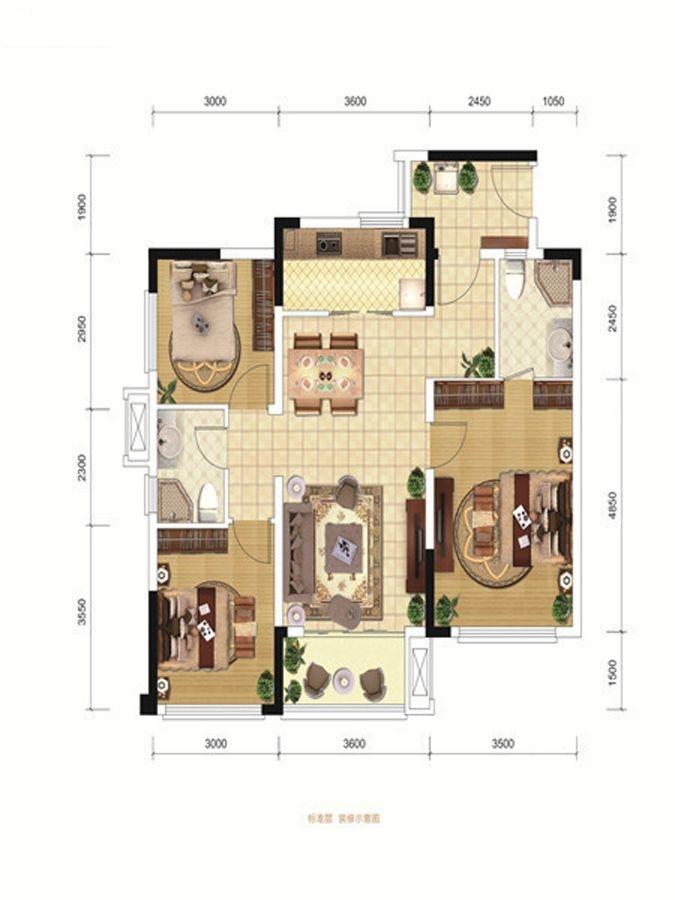 A3、C3户型 3室2厅2卫 90.00㎡