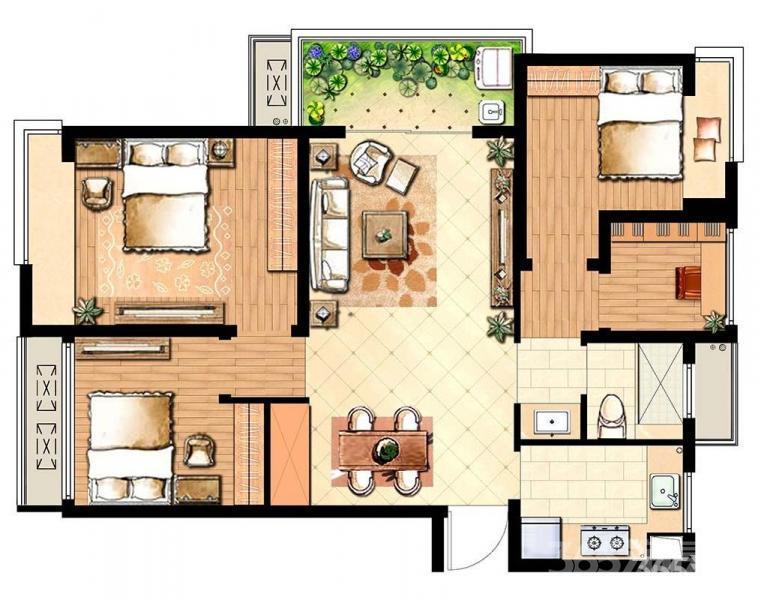 朗诗未来街区3室1厅1卫89平米整租合租毛坯