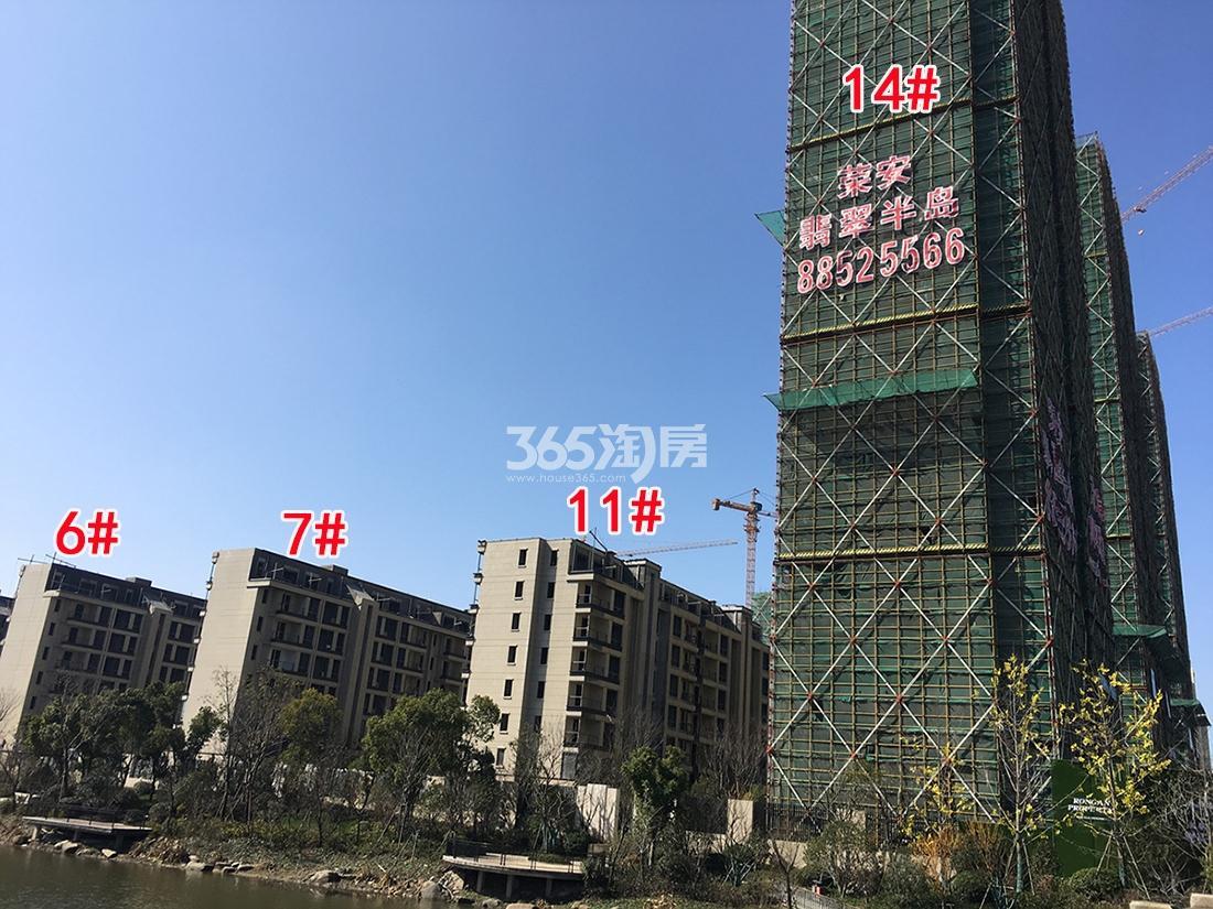 2018年2月底荣安翡翠半岛洋房6、7、11号楼和高层14号楼实景