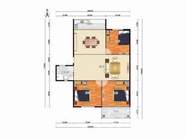 金基公寓3室2厅1卫104平米精装产权房2001年建