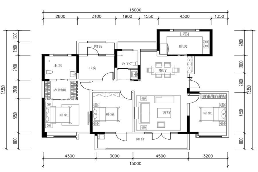 世园林语4室2厅2卫1厨165㎡户型图