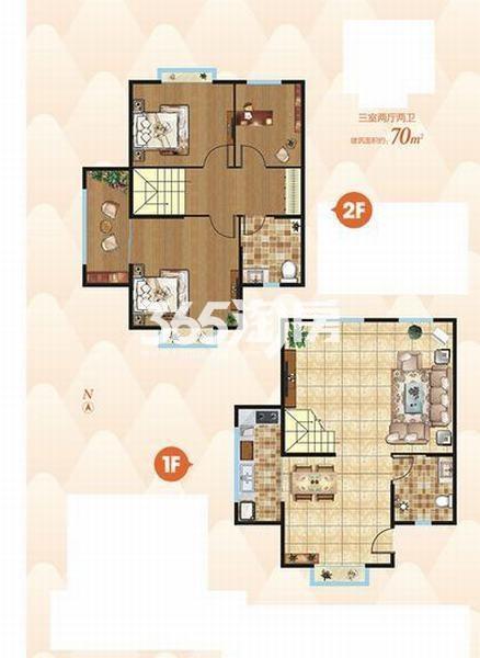 上上墅三室两厅两卫70㎡户型图